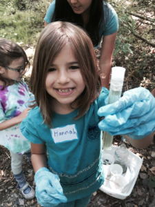 Hannah checking the quality of the water at Stevens Creek...outdoor learning!