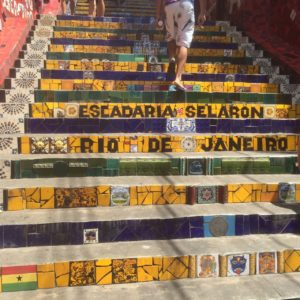 Tiled steps, all done by one man with donated tiles