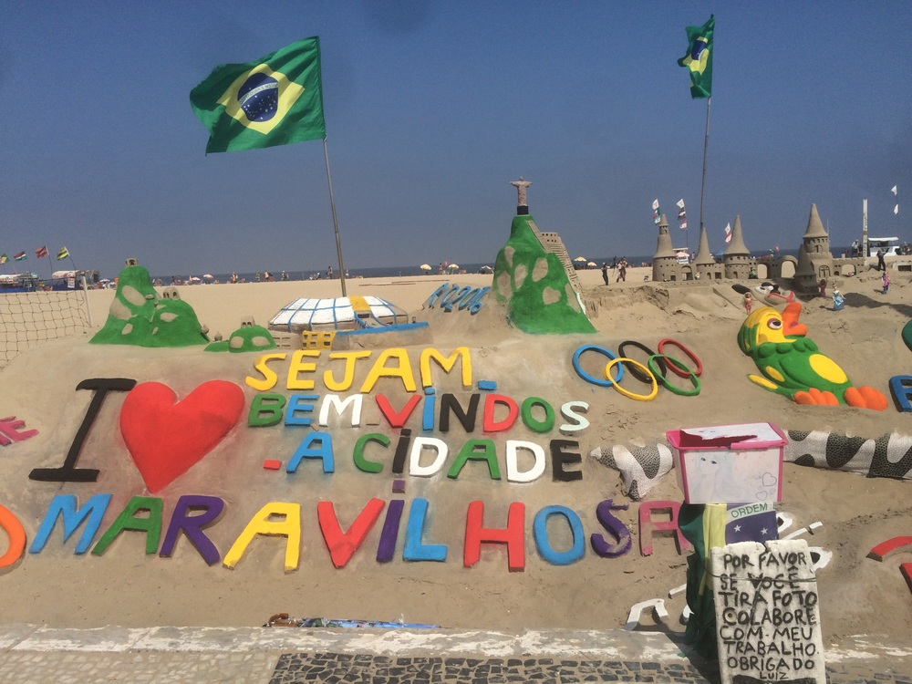 Sand art on Copacabana beach