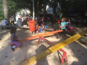 Playing at one of Rio's many mini-playgrounds