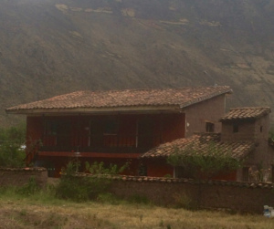 Our house in Sillachancha, Peru, with the Andes mountains in the background