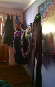 Hang drying our clothes in our bedroom