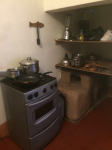 Part of the kitchen at our house in Sillachancha, Peru
