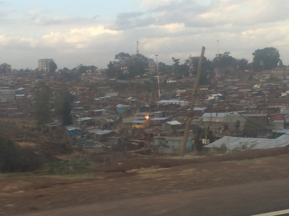 Nairobi slums. Corrugated tin housing.