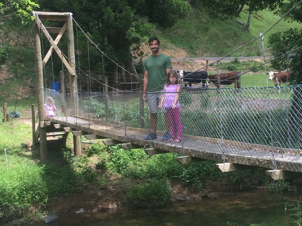 We had to walk across the suspension bridge to go from the main house to the barn. The owner could also take us in her 4x4 through the river.