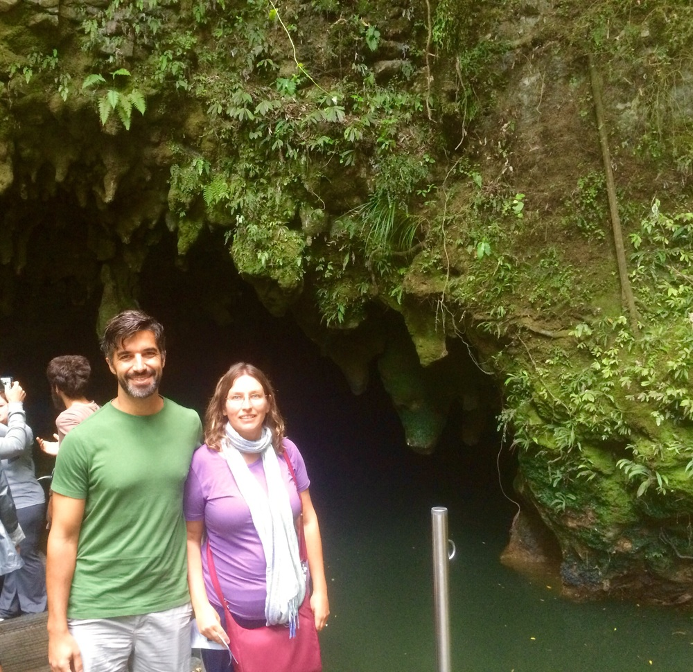 This is where you exit from the boat ride on the Waitomo Cave tour. We couldn't take any pictures inside.