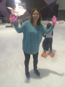 I didn't enjoy ice skating as a kid, but I had fun here. That's Hannah in the background. She was zooming all over!