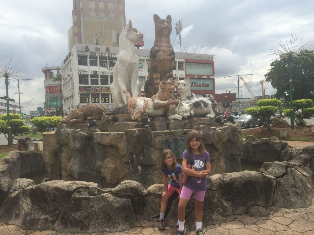 Hannah & Amy in front of one of the many cat statutes in Kuching.
