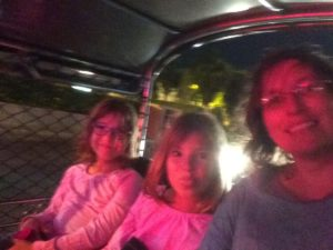 Girls night out (in the back of a tuk-tuk, one of our favorite things to do in Bangkok).