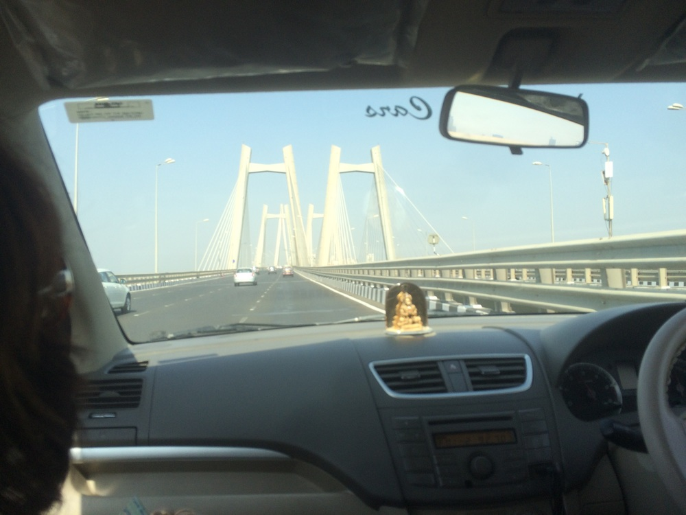 Going across the Sea Link bridge,  Mumbai's equivalent to the 'Golden Gate' bridge