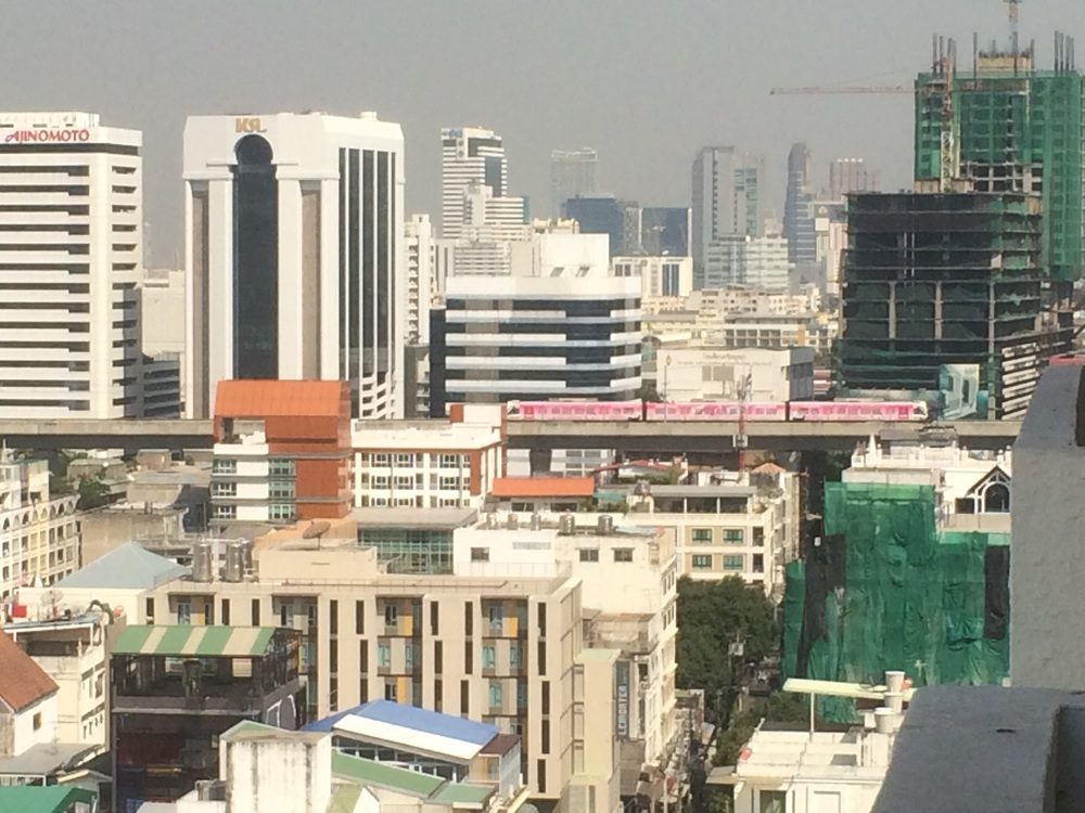 View of Bangkok from our hotel room. You can see the pink sky train, which we didn't take.