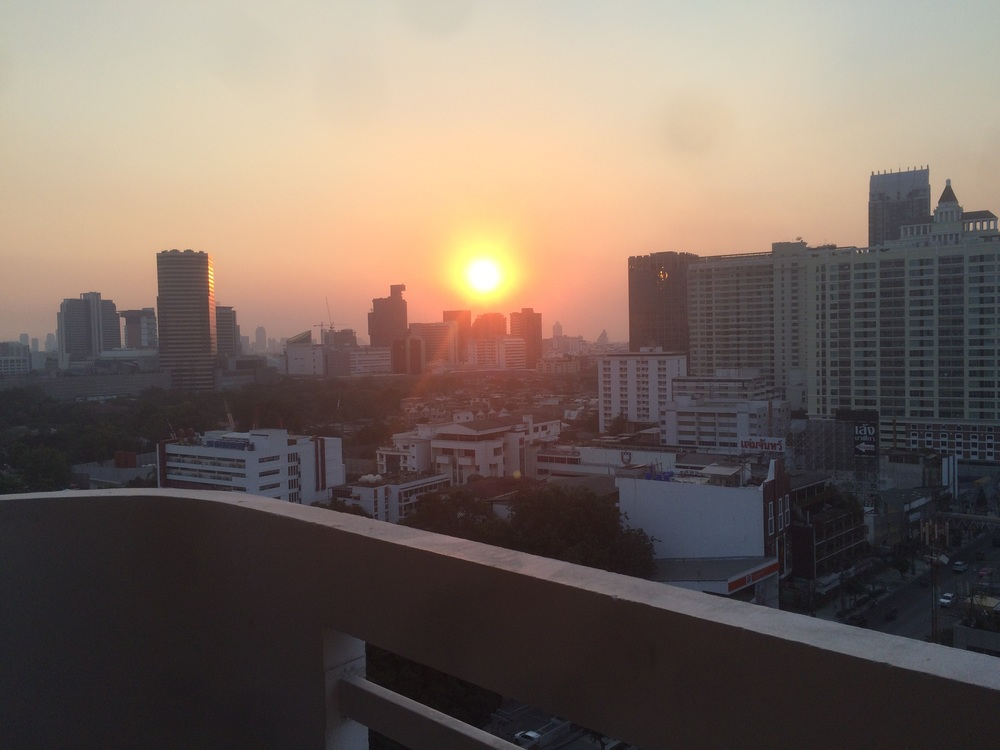 Setting sun over Bangkok