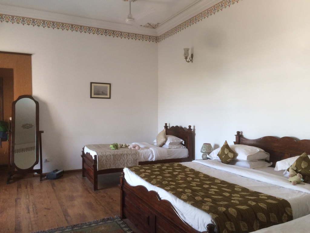 We shared a spacious room in Bharatpur, India
