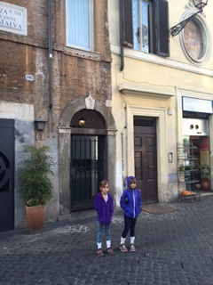 Outside the door to our apartment building in Piazza di San Giovanni della Malva