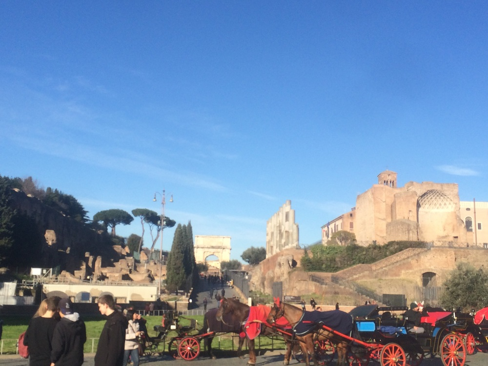 Horse-drawn carriage outside the Colosseum