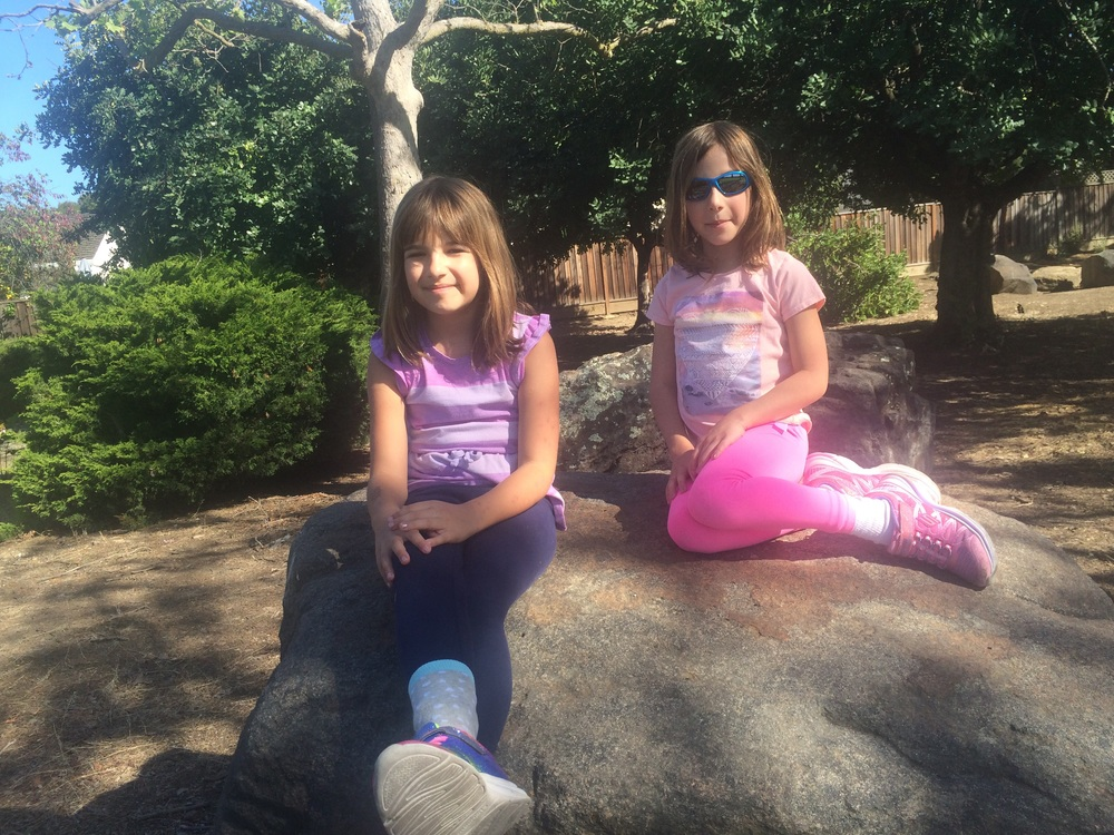 Hannah and Amy enjoying the California sun and Cupertino's Wilson Park