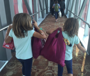 These reusable bags from the City of Cupertino are great for carrying our stuffed animals!