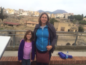 With my fleece and rain jacket in Ercolano, Italy