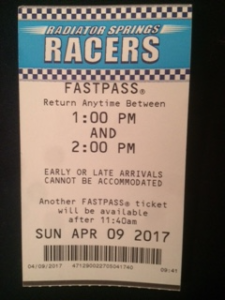 This is our FastPass for Radiator Springs Racers. It shows when to return to the ride, and when we can get another FastPass.