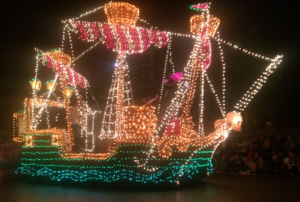 Captain Hook's ship in the Main Street Electrical Parade