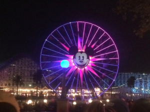 Waiting for the World of Color to start. It's at Paradise Pier in Disney California Adventure