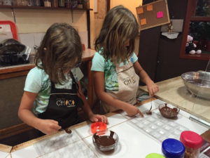 Amy & Hannah making chocolate