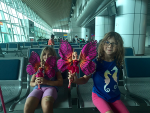 The girls got an early Christmas present from a toy store in the Kota Kinabalu Airport, Malaysia