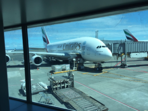Checking out the airplanes at the Auckland International Airport, New Zealand