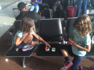 Playing Uno at the airport in Sao Paulo, Brazil