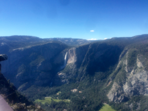View of Yosemite Valley from Glacier Point with Yosemite falls in the background