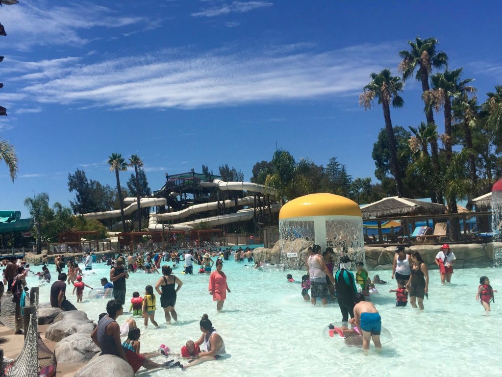The wave pool with the Hurricane complex and a bit of the Big Kahuna in the background