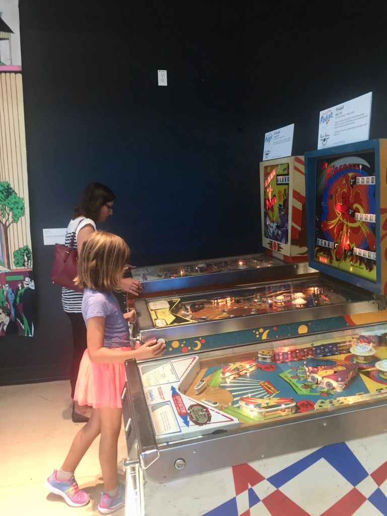 Trying our hand at the pinball machines