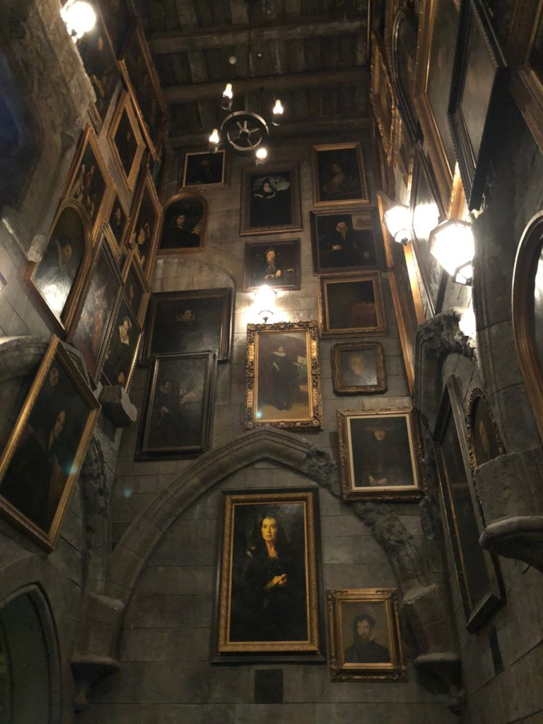 Inside Hogwarts as you wait in line for Harry Potter and the Forbidden Journey
