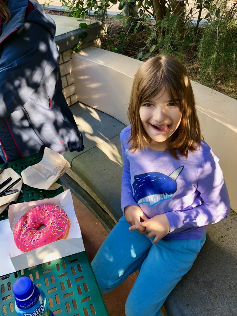 Hannah and the classic Simpsons Pink Donut