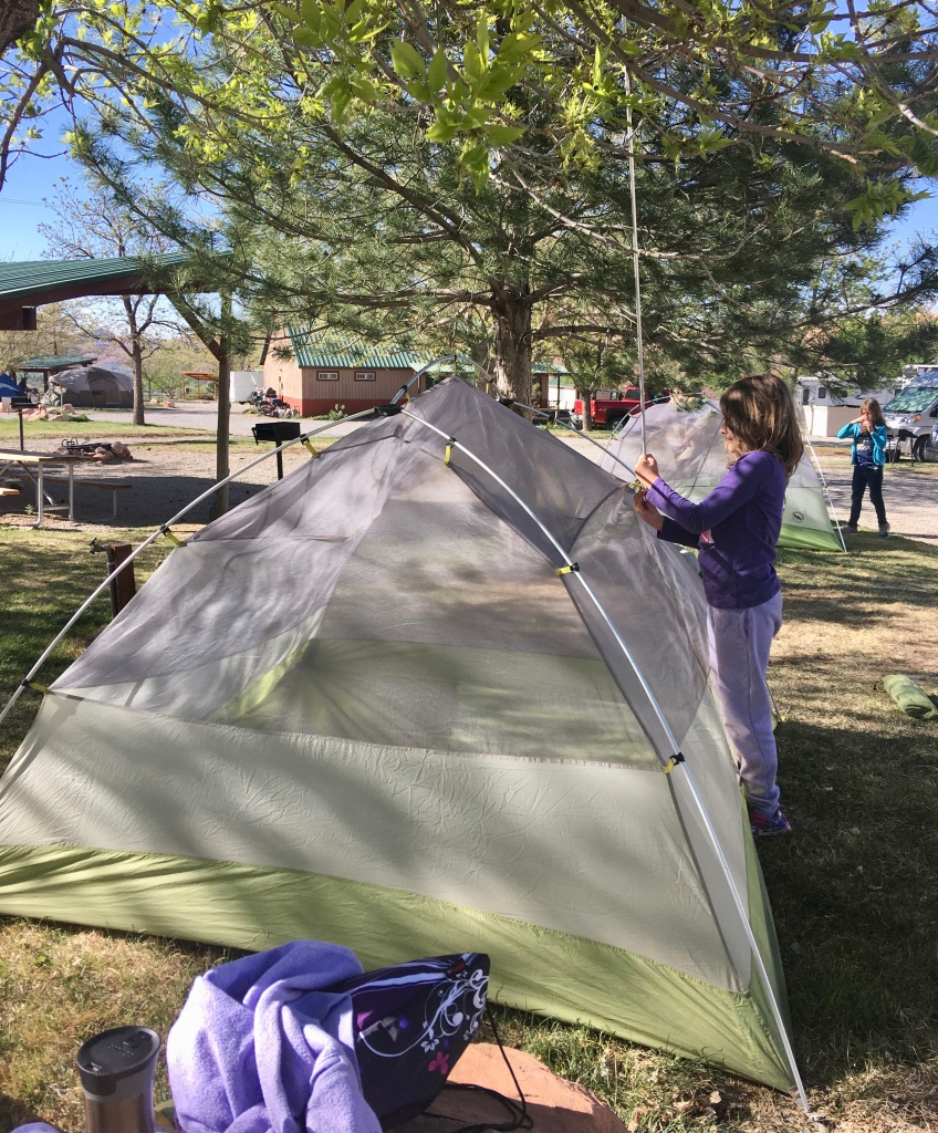 Setting up camp at a campground in Moab, Utah