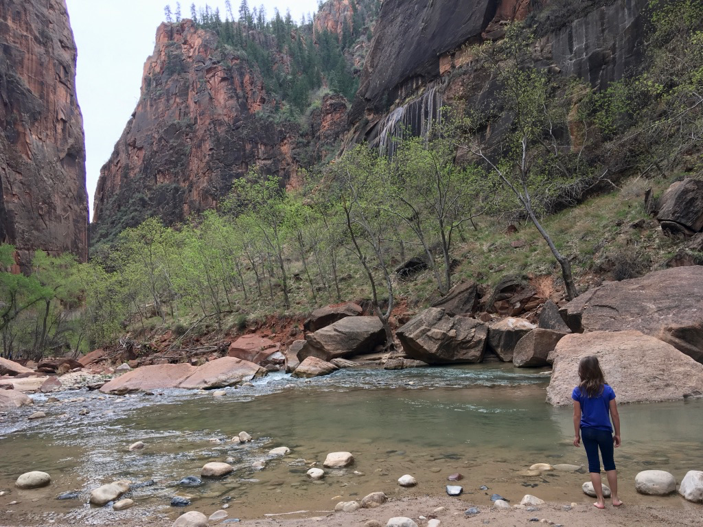 Amy dipping her toes in the Virgin River at Zion National Park, Utah. The water was cold!