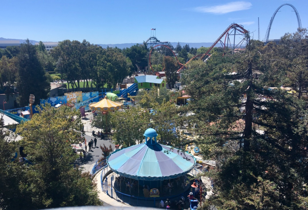 Aerial view of Planet Snoopy with some roller coasters in the background