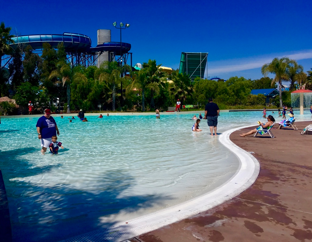 Boomerang Lagoon with waterslides in the background