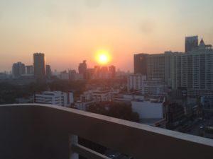 Setting sun over Bangkok